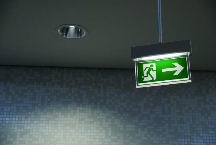 Groen verlicht nooduitgang design bord